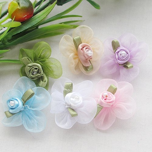 Chenkou Craft Organza Ribbon Flowers w/Rose wedding supply Appliques 40pcs