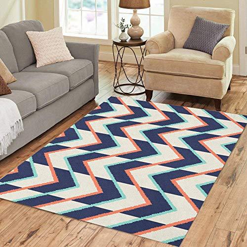 Pinbeam Area Rug Orange Zigzag Chevron Pattern Blue Aqua Arrow Abstract Home Decor Floor Rug 3' x 5' Carpet