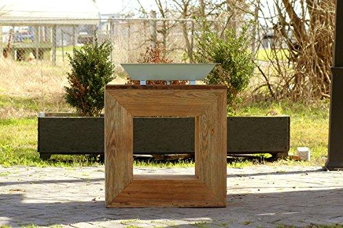 Cheap  Reclaimed Wood Square Bath Vanity Minimalist Trough Sink Handmade Single Bath Console..