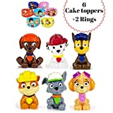 ToysoutletUSA Paw Patrol Cake Topper   8 pcs Set Including 2 Free Rings   Mini Toy Figures For Cupcake Decorations