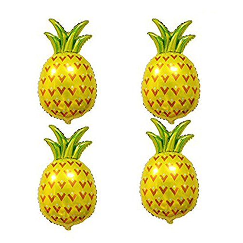 AnnoDeel 4 pcs 32inch Pineapple Mylar Balloons, Giant Pineapple Fruit Helium Foil Balloons for Pineapple Luau Balloons Summer Party Supplies Decorations