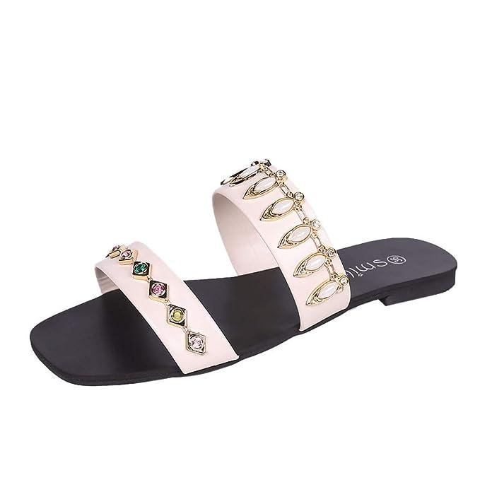 POLP Zapatillas de Estar por casa para Mujer Doradas Moda Punta Redonda y Plana con Zapatos Mocasines Casuales Sandalia Cómodo Chanclas Playa Verano 2019 ...