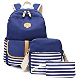Backpack Purse Women,Miya School Bookbag Lightweight Travel Bag iPad Backpack College Students Girls Womens 3 Pieces Set - #Blue