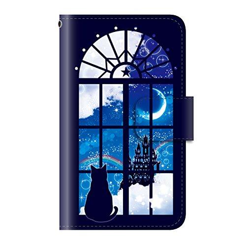 猫 ファンタジー ゴシック(手帳型)【02.窓と星空と猫】/ iPhone8 手帳型ケース カバー アイフォン