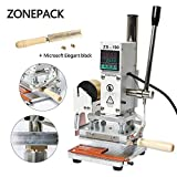 ZONEPACK Digital Embossing Machine with Stamping Letter Hot Foil Stamping Machine Manual Tipper Stamper for PVC Leather Pu and Paper Stamping with Paper Holder (Machine with Microsoft Elegant Black) ...
