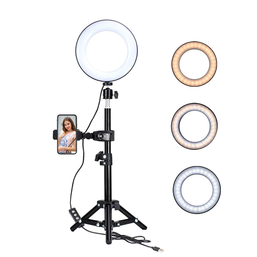 KTELE 6'' Selfie Ring Light with Tripod Stand for YouTube Video and Makeup with Cell Phone Holder Desktop LED Lamp with 3 Light Modes & 11 Brightness Level (KT1)