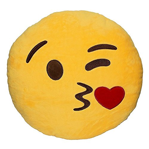 Wink Blow Heart Kiss Emoji Pillow 12.5 Inch Large Yellow Smiley - Shape Face Heart Glasses