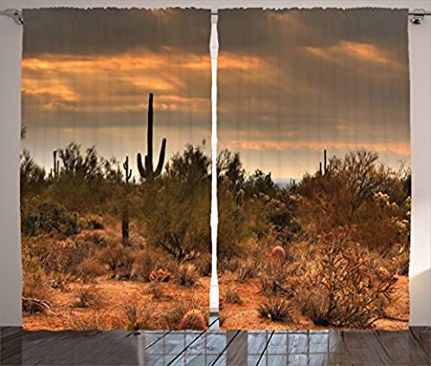 Saguaro Cactus Decor Curtains by Ambesonne, Dramatic Shady Desert View with a Storm Clouds Western Arizona Photo, Window Drapes 2 Panel Set for Living Room Bedroom, 108 W X 90 L Inches, Orange Green