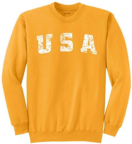 (Vintage USA Logo Crewneck Sweatshirt-Small Gold)