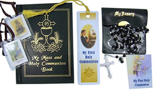 Communion Bookmark Laminated (My First Holy Communion Boy Gift Set with Prayer Book, Rosary, Scapular, Lapel Pin, and Bookmark)