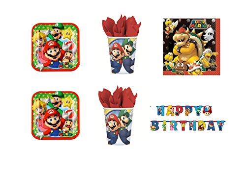Casa dolce casa Casa Dolce Dolce Dolce Casa - Kit n° 33 Super Mario Bros et Luigi - Ensemble de table pour fête (16 assiettes, 16 gobelets, 20 serviettes, 1 nappe, 1 guirlande festons) 8e89b5