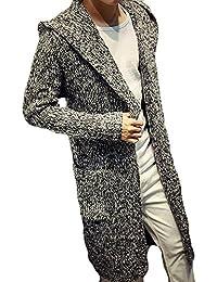 Mens Outwear Hoodie Open Front Longline Knitted Sweater Cardigan