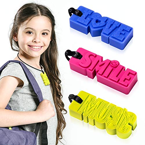 Sensory Chew Necklaces for Boys/Girls/Adults with Special Needs, Teething Babies for Moms to Wear, 3 Pack ()