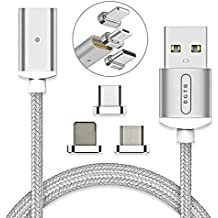 BGTB Gen 4, Universal Magnetic Charging and Data Cable, Nylon Braided, Sync Cord with 2.4A Quick Charging, 3.3 FT with 3 Adapters for Android Micro USB, Type C and Apple Devices