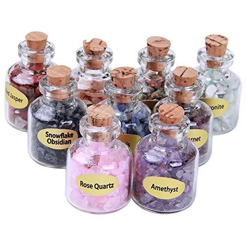 (TAOVK 9pcs Mini Stones Bottles Natural Semiprecious Crystal Healing Mini Tumbled Stones Wicca Chips with Box)