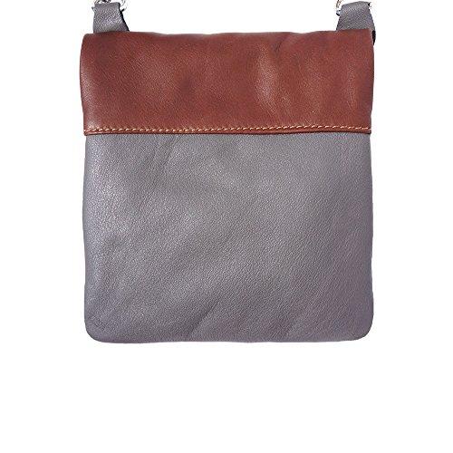Cuero Gris Leather Hombro Bolso De 408 Florence Market Genuino Suave marròn Y aR6wxaqXZ