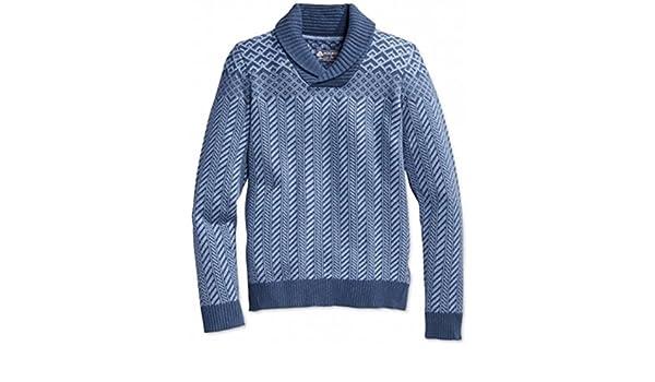 American Rag Mens Fair-Isle Shawl Sweater indigoheather 2XL at ...