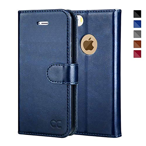 (OCASE iPhone 5 Case iPhone 5S Case [Card Slot] [Kickstand] Leather Wallet Flip Case for iPhone 5 / 5S / SE Devices - Blue)