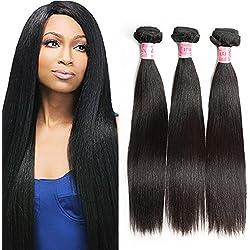 XBLHAIR 100% Brazilian Remy Virgin Human Hair Weave 7A Grade Straight Hair Extensions 3 Bundles Deals Black (16 18 20) 95-100g/pc