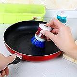Denzar Palm Scrubber Brush, Wash Cleaner Brush Tool with Soap Dispenser Holder,Dish Pot Brush,Easy to Use