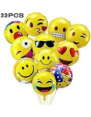33 Pz Palloncini Colorati Emoji Emoticon per Party, Compleanni, Matrimoni, Decorazione - 45 cm Palloncini in Foglio Elio