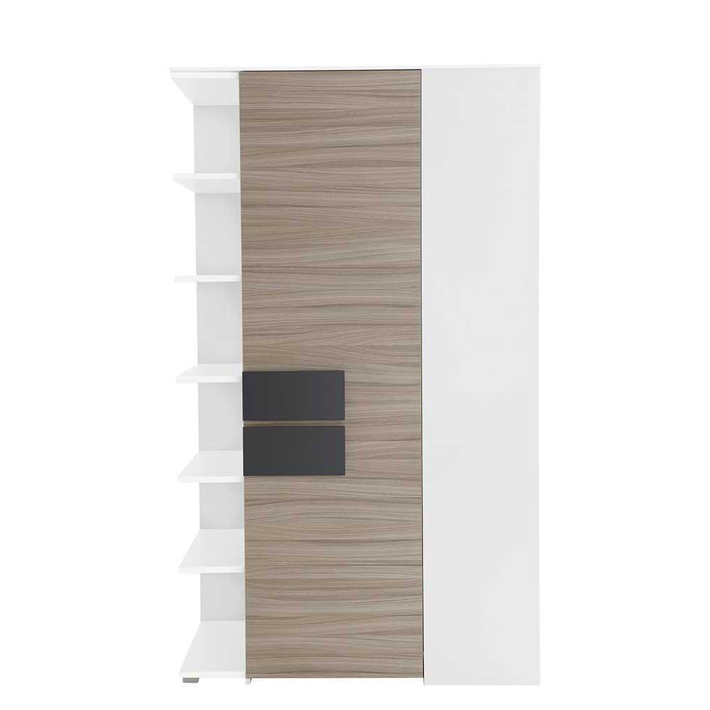 Pharao24 Kleiderschrank für Ecke Holz Anthrazit