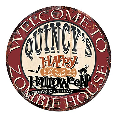 Welcome to The Quincy'S Happy Halloween Zombie House Chic Tin Sign Rustic Shabby Vintage Style Retro Kitchen Bar Pub Coffee Shop Man cave Decor Gift Ideas ()