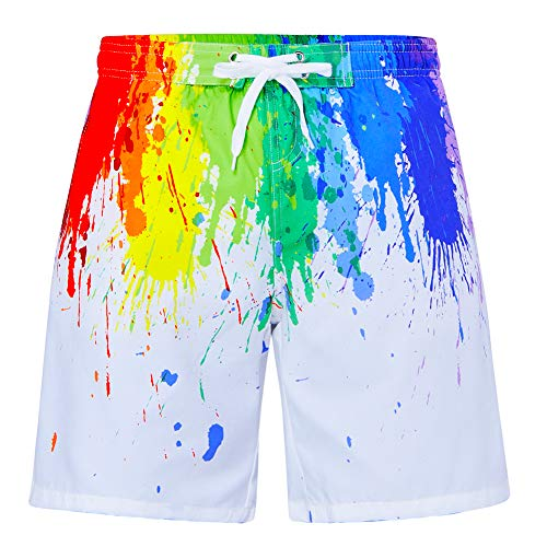 - uideazone Boys Teens Summer Short Boardshorts Colorful Graffiti Paint Yellow Jade Purple Burgundy 3D Printed Cool Floral Bathing Suit Swimwear Popular Trunks Shorts with Mesh Lining