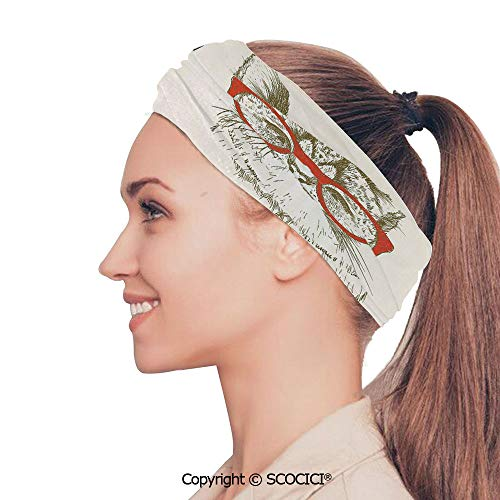 SCOCICI Stretch Soft and Comfortable W9.4xL18.9in Headscarf Headbands Vintage Style Domestic Feral with Hipster Glasses Be Clever Boy Illustration Art,Cream Red Black Perfect for Running, Working Ou