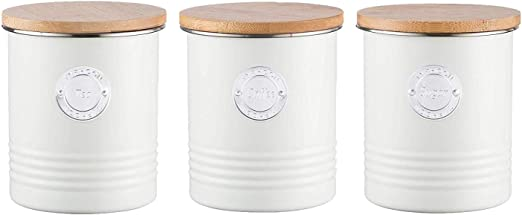 Typhoon Living Tea Storage Canister Bamboo Wooden Airtight Lid Cream