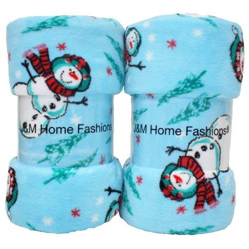 J & M Home Fashions 81539A Holiday Christmas Plush Fleece Throw Blanket, Reversible Fuzz Soft Warm Breathable Fluffy for Bed, Chair, Couch, Picnic, Camping, Beach, Travel 50x60 Snowman Design