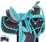 AceRugs Kids Quarter Horse OR Pony Size Western Saddle Set Light Weight Synthetic Teal Crystal Show Bridle REINS Breastplate PAD