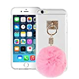 BXT iPhone 6/6s Slim Thin Crystal Clear Transparent Protective Case Cover, Women Girls Bling Rhinestone Soft TPU Gel Back Carrying Case Bumper Protector Otterbox with Faux Fur Hanging Ball Pendant