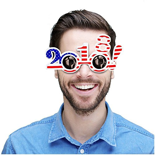 Effect Design (USA Flag Shades - 2018 Frame - Stars & Stripes Design - Mirror Effect Lens - 6 Pieces - Fun For New Year's Eve Party - Welcome NYE 2018 With Family And Friends)