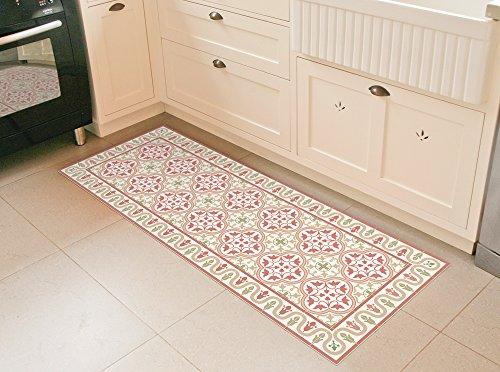 Vinyl mat, with terra cotta tiles pattern. linoleum area rug, PVC floor mat. by Art Mat