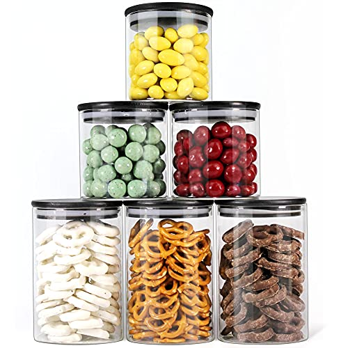Urban Green Glass Jars with Black Lids, Glass food storage sets with airtight black lids, Glass Canisters Sets with…