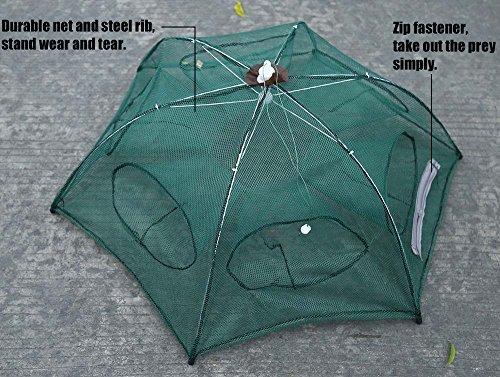 Folded fishing net fish shrimp minnow crab baits cast mesh for Fishing pole crab trap