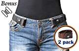 No Buckle Belt For Women/Men Buckle Free Belt Plus Size for Jeans Pants 2 Pack (Pants Size 34''-48'', 01-Black+Coffee)