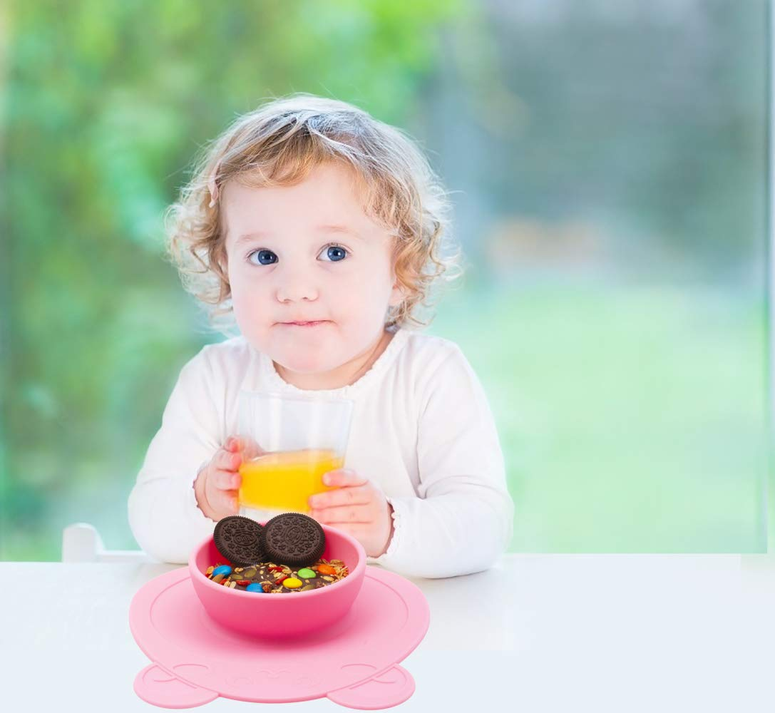 BPA-Free FDA Approved Strong Suction Plates for Toddlers One-Piece Baby Plate for Babies Toddlers and Kids Dishwasher and Microwave Safe Silicone Placemat 28 * 20 * 2.5cm Qshare Toddler Plates