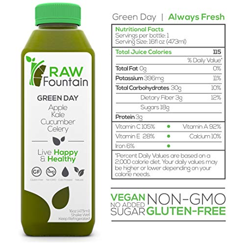 RAW Fountain 3 Day Juice Cleanse, 100% Natural Raw, Cold Pressed Fruit & Vegetable Juices, Detox Cleanse Weight Loss, 18 Bottles, 16oz +3 Ginger Shots 5