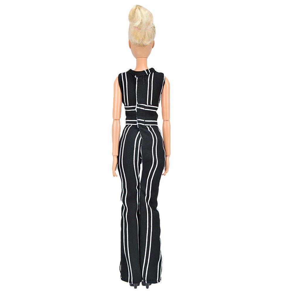 Amazon.es: E-TING Vestido Hecho a Mano de Falda Ropa para Barbie muñeca (Striped Jumpsuits Bell-Bottoms): Juguetes y juegos