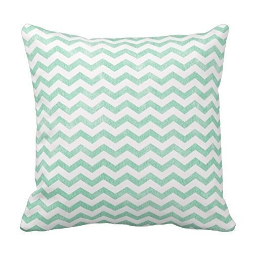 Bigdream Mint Green And White Chevron Pattern Throw Pillow Decorative Throw Pillowcase Cushion Case 18 X 18