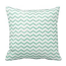 Bigdream Mint Green And White Chevron Pattern Throw Pillow Decorative Throw Pillowcase Cushion Case 18 X 18