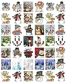 410 Christmas Snowman Folk Art Family Ceramic Decals By The Sheet Select-A-Size 24 pcs 1-1//4