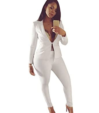 buying now to buy low price sale Jitong Femmes Veste de Tailleur Chic Ensemble Pantalon Manches Longues Col  V Blazer Costume