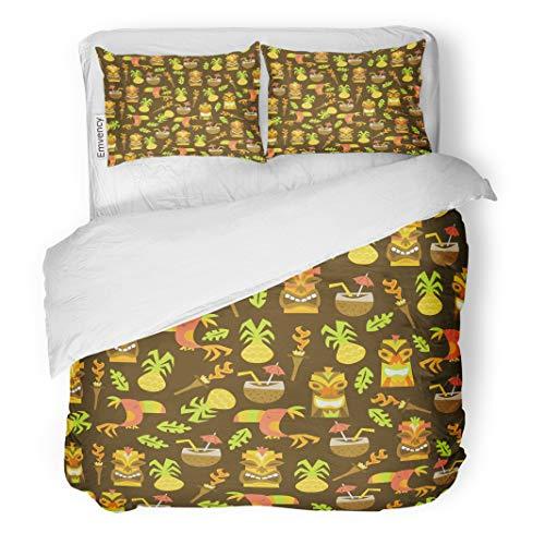 Emvency Decor Duvet Cover Set Full/Queen Size Pineapple of Tiki Luau Toucan Bird Cartoon Coconut Exotic Fun Hawaiian 3 Piece Brushed Microfiber Fabric Print Bedding Set ()