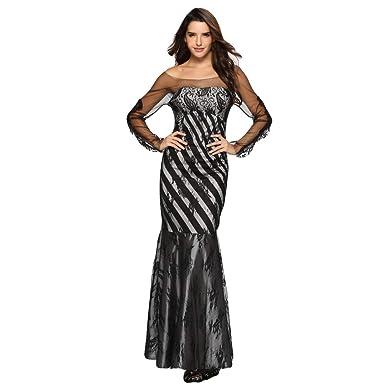 e342a610c Yvelands Mujeres de la Moda sin Tirantes de Encaje Patchwork Party Maxi Vestido  de cóctel Largo  Amazon.es  Ropa y accesorios