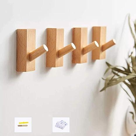 Creative Wooden Towel Hooks Wall Mounted Hanger Holder Home Decor Organizer Tool