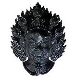 Resin Bhairava/Bhairav/Bhairab/Shiva Mask: Hindu/Buddhist Wall Hanging Decoration (Large, Black)