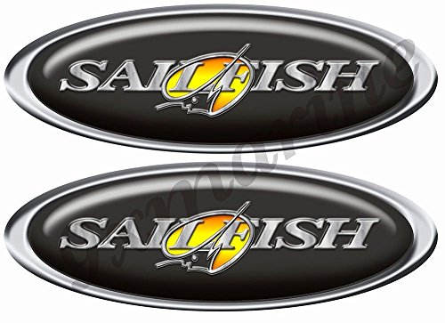 - Two Oval Sailfish Decals/Stickers for boat restoration. 10 inch long each